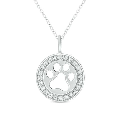 Cali Trove 1/20ct Round White Diamond 925 Sterling Silver Dog Paw Pendant for Women