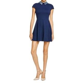 Aqua Womens Juniors Wear to Work Dress Peter Pan Collar Embellished