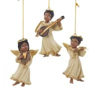 "Club Pack of 12 African American Musical Angel Christmas Ornaments 3.5"" - GOLD"