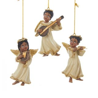 club pack of 12 african american musical angel christmas ornaments 35 gold