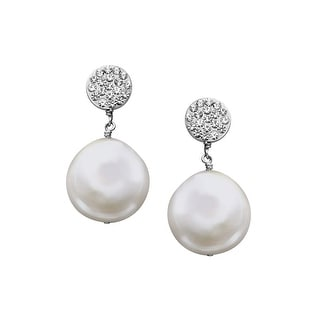 Aya Azrielant Coin Freshwater Pearl Drop Earrings with Swarovski Crystals in Sterling Silver