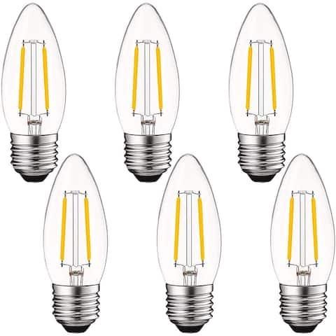 Luxrite LED Chandelier Light Bulbs E26, 40 Watt, 2700K Warm White, Dimmable, Edison Bulb, 400 Lumens, UL Listed 6 Pack