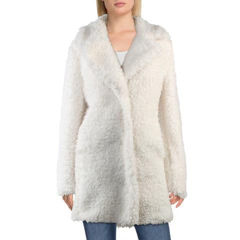 Kensie Womens Faux Fur Coat Winter Oversized - Ivory - L