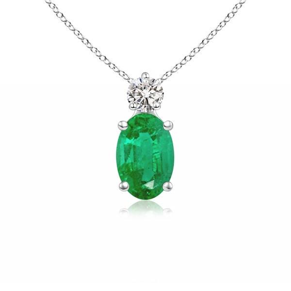 Angara Prong-Set Oval Emerald Solitaire Pendant with Diamond