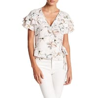 ASTR Women's Medium Wrap Floral Ruffle Top