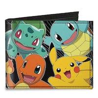 Kanto Starter Pok�mon & Pikachu Pok�mon Logo Lines Canvas Bi Fold Wallet One Size - One Size Fits most