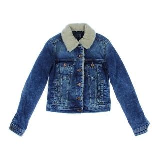 Zara Basic Womens Faux Trim Long Sleeves Jean Jacket