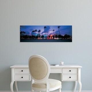 Easy Art Prints Panoramic Images's 'Buildings lit up at dusk, Miami, Florida, USA' Premium Canvas Art