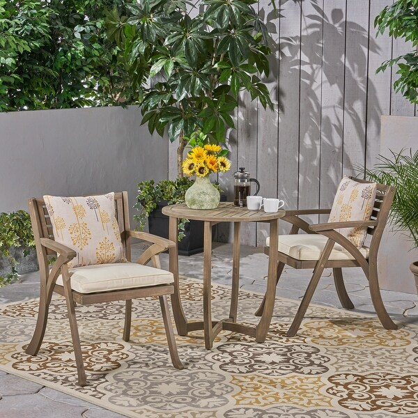 Coronado Outdoor 3-piece Wood Bistro Set by Christopher Knight Home. Opens flyout.