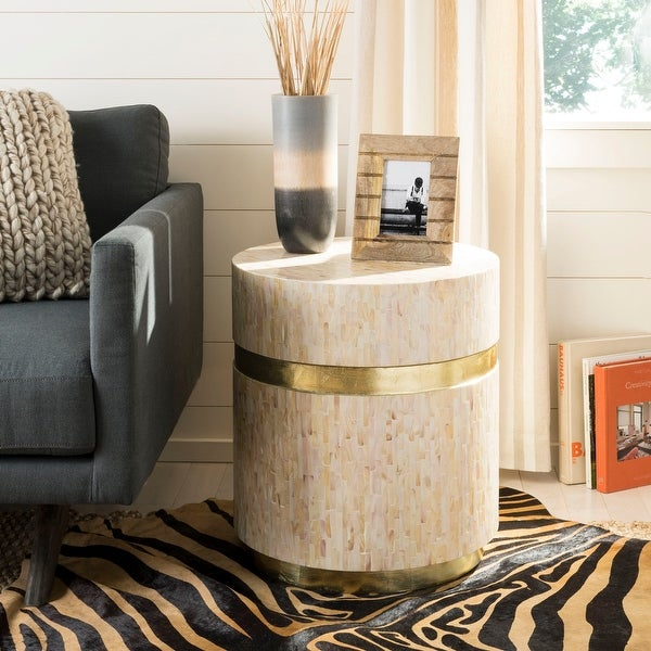 """Safavieh Perla Pink Champagne/ Gold Mosaic Round Side Table - 19.7"""" x 19.7"""" x 22"""""""