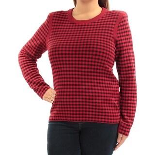 SONIA RYKIEL $670 Womens New 1411 Red Black Plaid Long Sleeve Top XL B+B
