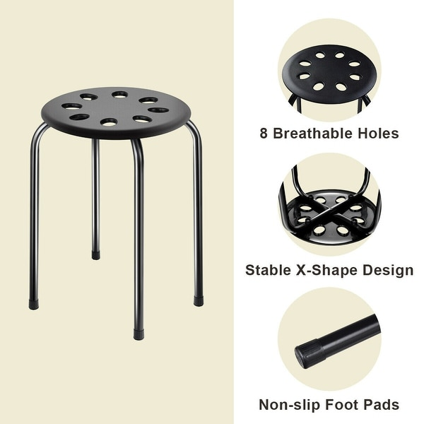 Set of 5 Plastic Stack Stools Portable Round Stackable Stools Seating Top 17/""