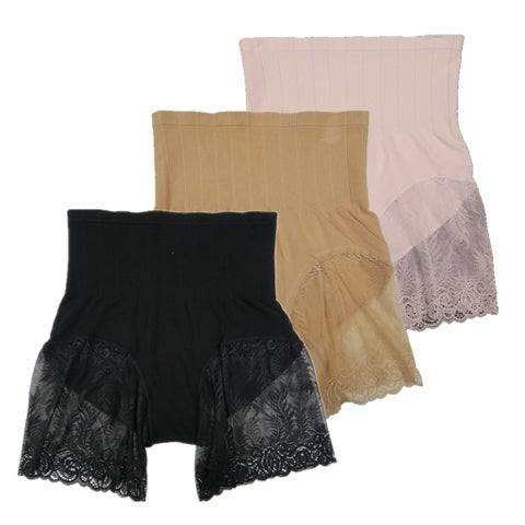Women 3 Pack Seamless High Cut Lace Shapewear Control Briefs Panties