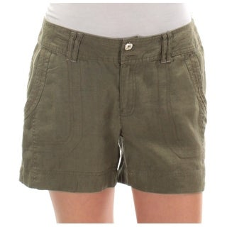 INC Womens Green Straight leg Short Size: 2XS