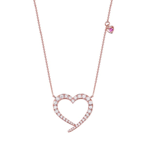 Brand New 0.56Ct Natural G-H/SI1 Diamond & Pink Color Diamond Heart Shaped Valentine 17 Inches Necklace