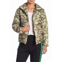 Know. One. Cares Green Womens Size Large L Camo-Print Puffer Jacket