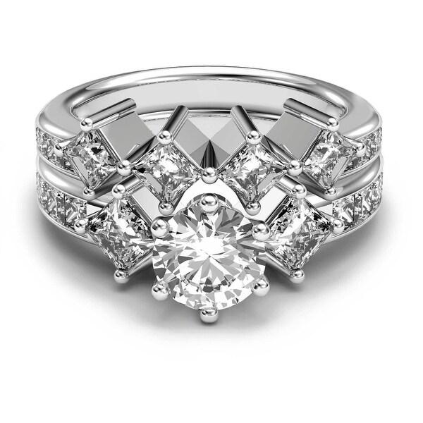 14K White Gold 3.10 CT Channel Round & Princess Diamond Bridal Set