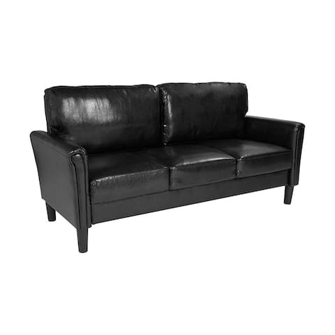 Offex Contemporary Upholstered Sofa Couch with Oversized Back Cushion in Black Leather