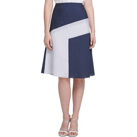 DKNY Womens A-Line Skirt Colorblock Striped - Navy/White