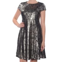 ALFANI Womens Gold Cap Sleeve Jewel Neck Above The Knee Fit + Flare Party Dress  Size: 8