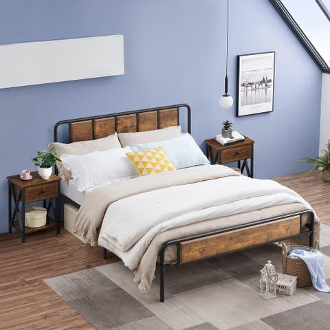 Taomika 3-piece Platform Bed and Nightstands Set in Rustic Brown