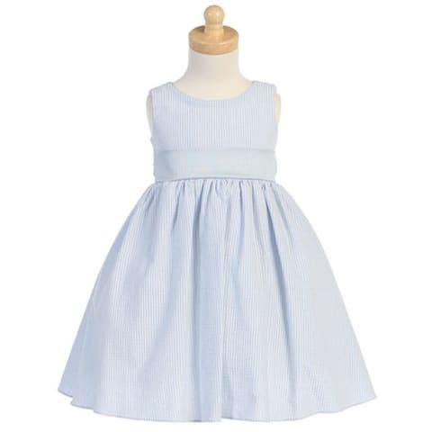 1f8a82f03 Baby Toddler Girl Light Blue Seersucker Stripe Easter Dress 6M-12