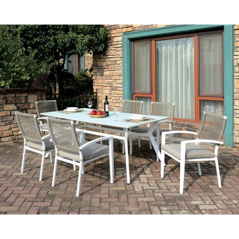 Furniture of America Miru Transitional White 7-piece Patio Dining Set
