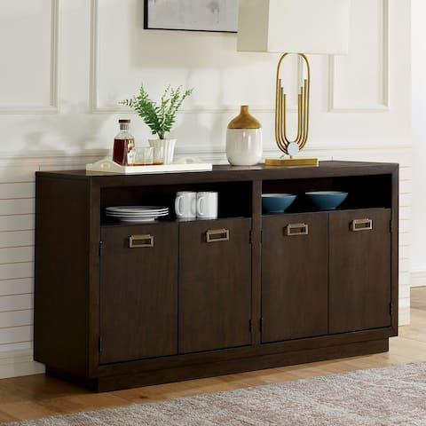 Furniture of America Mair Transitional Dark Walnut Solid Wood Server