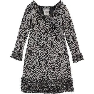 Bonnie Jean Girls 4-6X Knit Jacquard Dress - Grey