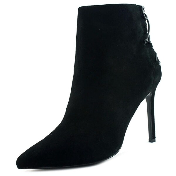 Charles David Catherine Women Round Toe Suede Black Ankle Boot