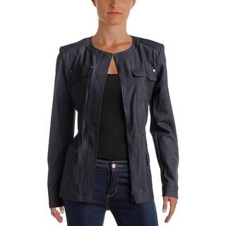Tommy Hilfiger Womens Jacket Denim Collarless