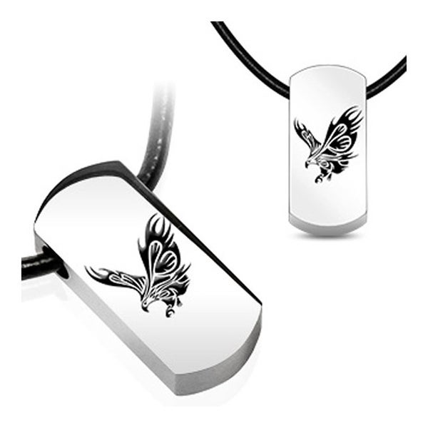 Stainless Steel Tag Pendant with Beveled Black Plated Flying Eagle (15 mm Width)