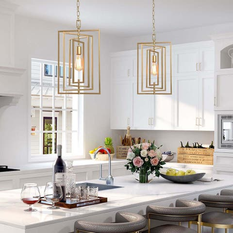 Glam Ceiling Hanging Light Gold/Black Pendant Lighting for Kitchen Island