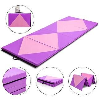 Gymax 4'x10'x2'' Gymnastics Mat Folding Portable Exercise Aerobics Fitness Exercise Gym