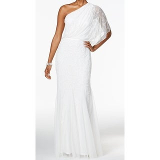 Adrianna Papell NEW White Womens 16 Tulle Embellished One-Shoulder Gown