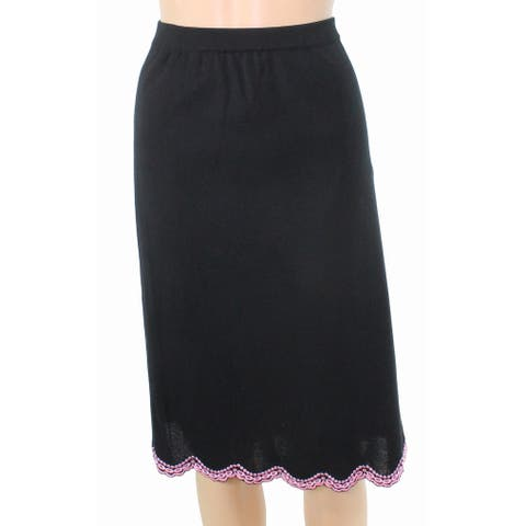 MING WANG Skirt Pink Black Small PS Petite Embroidered Stretch Knit