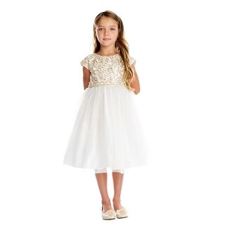 Little Girls Off-White Gold Cord Embroidered Christmas Dress 2-6