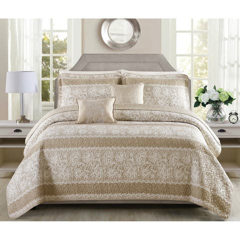 Serenta Emma 5 Piece Printed Quilt Bedspread Coverlet Set