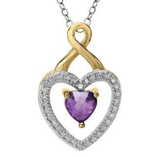 Amethyst Heart Pendant with Diamond in 18K Gold-Plated Brass - Purple