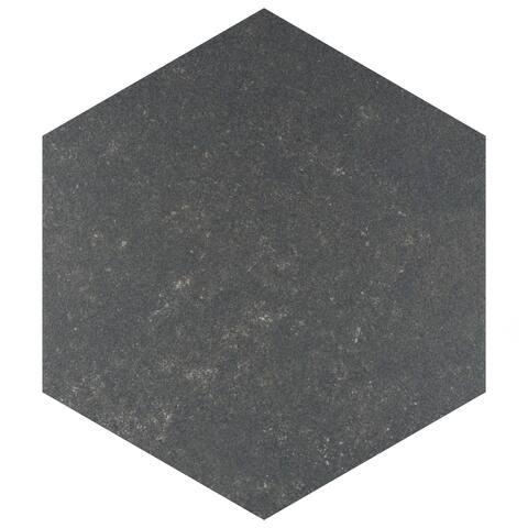 """SomerTile Traffic Hex Dark 8.63"""" x 9.86"""" Porcelain Floor and Wall Tile"""