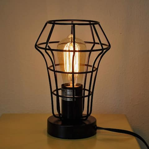 """9"""" Industrial Metal Table Lamp Accent Light with a Free Edison Bulb"""