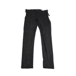 American Rag Juniors Black Mixed-Media Side-Laced Skinny Pants 7