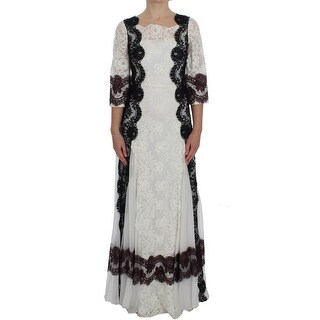 Dolce & Gabbana Dolce & Gabbana White Floral Lace Full Length Gown Dress - it38-xs