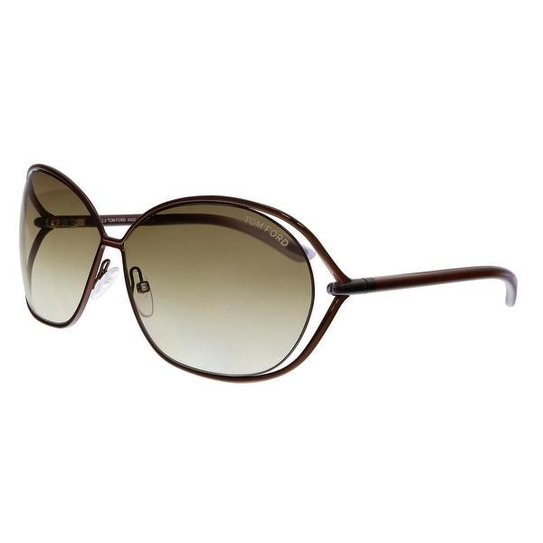 49e5474947 Shop Tom Ford FT0157 48F Carla Dark Bronze Oversized Sunglasses - No ...