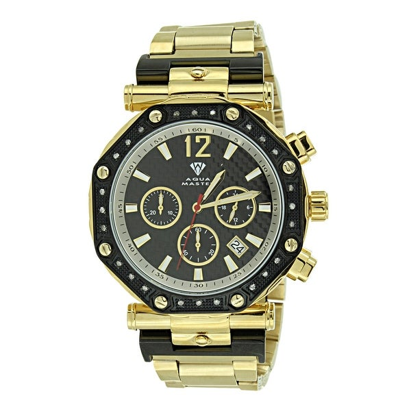 Watch Gold Tone Black Dial Bezel Diamond Aqua Master Steel