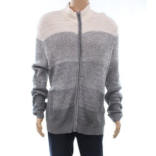 Alfani Gray Ombre Heather Mens Size Large L Full Zip Knitted Sweater
