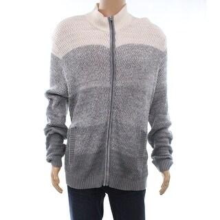 Alfani Heather Gray Mens Size 2XL Colorblocked Full Zip Sweater