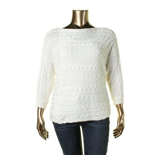 Lauren Ralph Lauren Womens Pullover Sweater Cable-Knit Dolman Sleeves