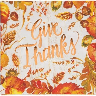 """Pack of 12 Yellow and Orange Give Thanks Foil Stamped Luncheon Napkin 6.5"""""""