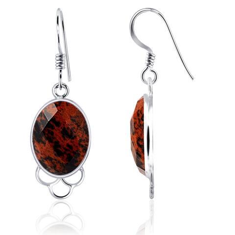 Mahogany Obsidian Sterling Silver Oval Dangle Earrings By Essence Jewelry